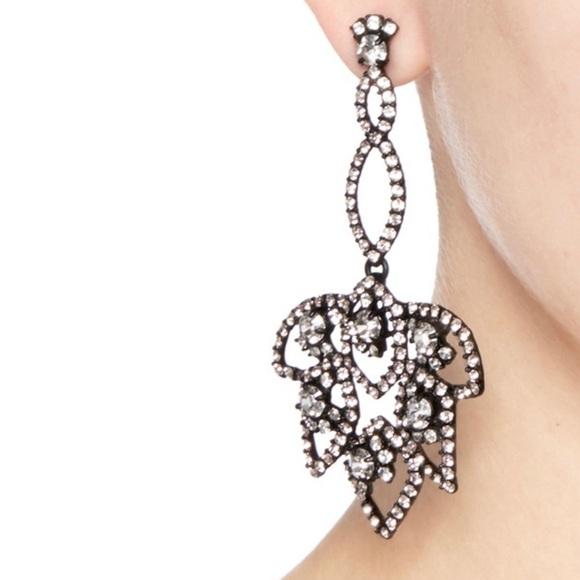 J. Crew Lotus Pave Statement Earrings